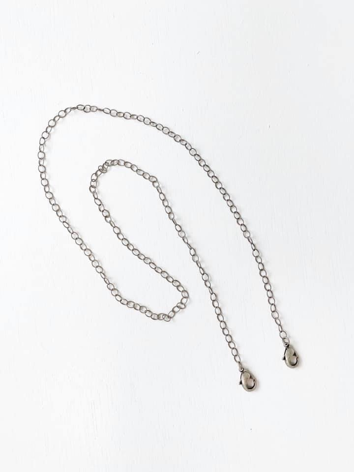 Face Mask Chain, Antique Silver