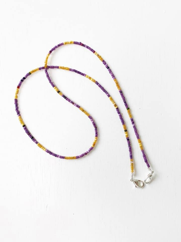 Beaded Face Mask Chain, Purple & Gold
