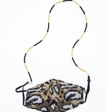 Black & Gold Beaded Face Mask Chain