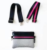 Neoprene Crossbody, Grey & Pink
