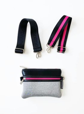 Neoprene Crossbody, Grey & Pink