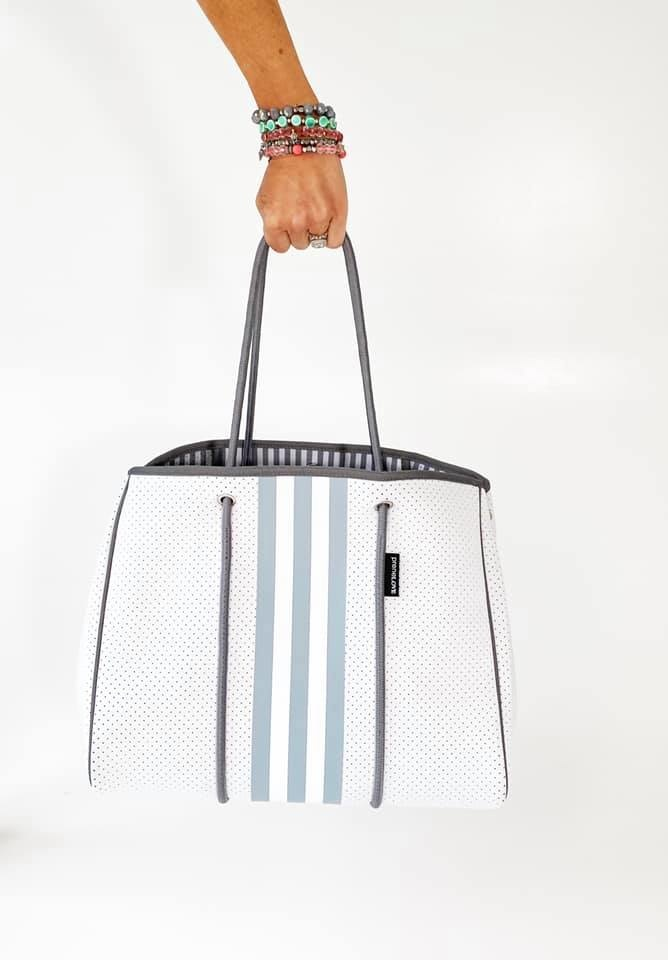 Neoprene Travel Tote, Grey & White