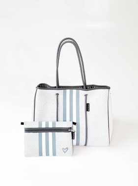 Neoprene Travel Tote, Grey & White