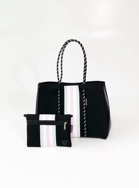 Neoprene Travel Tote, Black & Pink