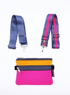 Neoprene Crossbody, Pink & Orange