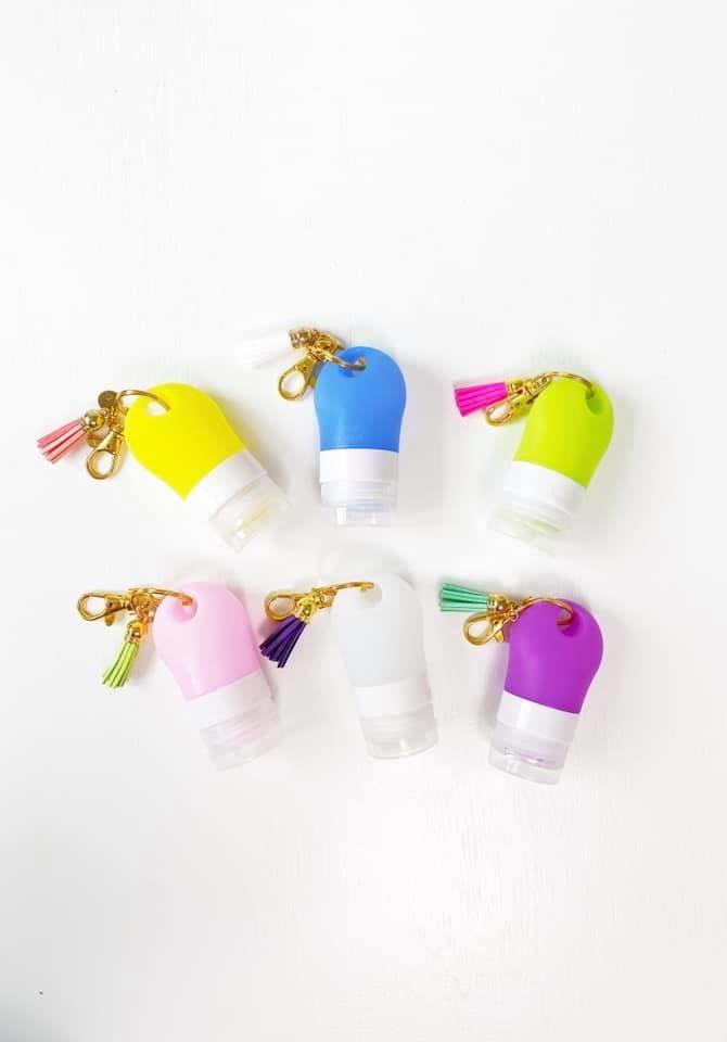 Silicone Sanitizer Bottle Keychain w/ Tassel