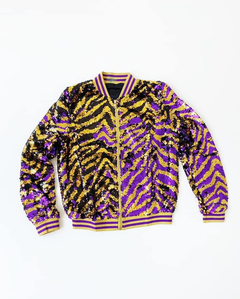 Gleaux Girl Magic Sequin Tiger Stripe Jacket