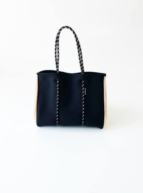 Neoprene Travel Tote, Black & Rose Gold