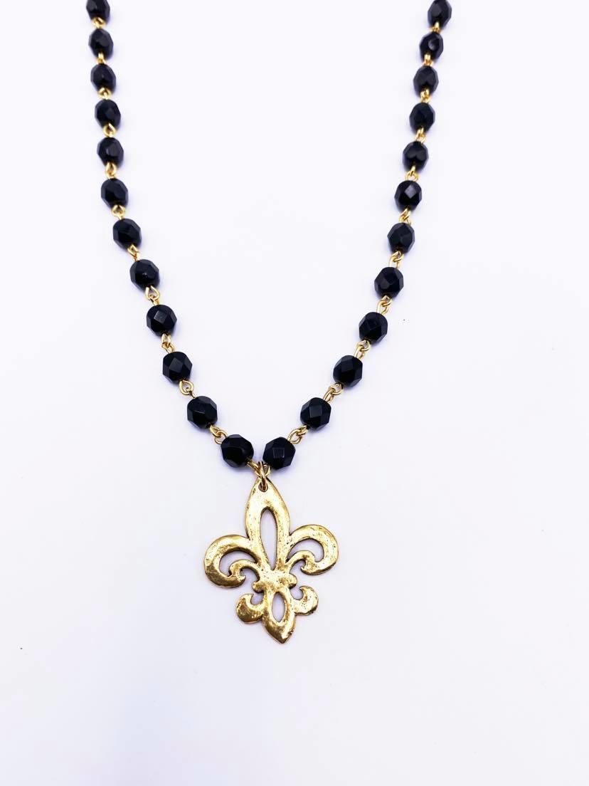 Open Fleur de Lis Necklace, Black Bead Chain