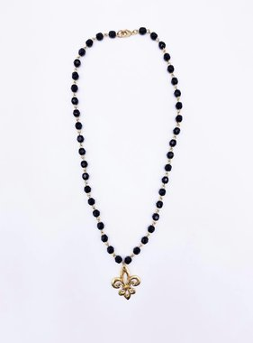 Open Fleur de Lis Necklace, Black Bead Chain