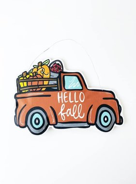 Hello Fall/Merry Christmas Burlap Truck Door Hanger