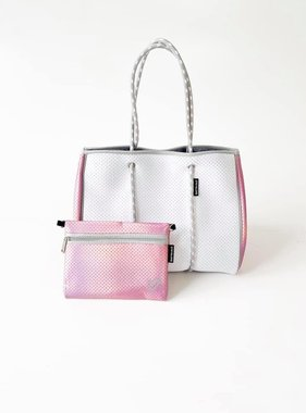 Neoprene Travel Tote, White & Pink