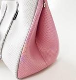 Neoprene Travel Tote, White & Pink