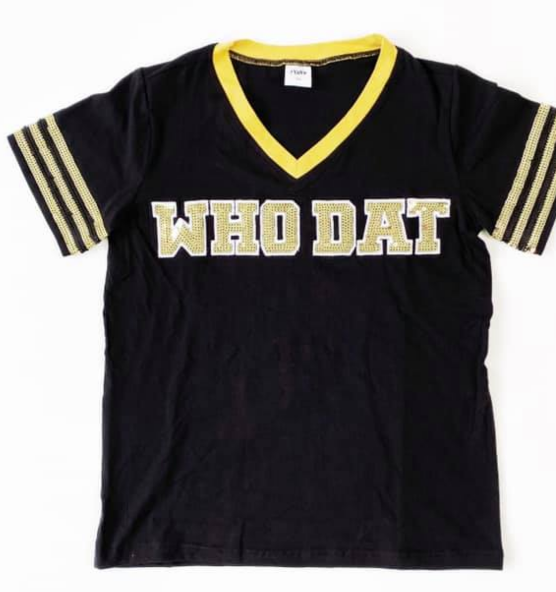 Who Dat Sequin Jersey, Black