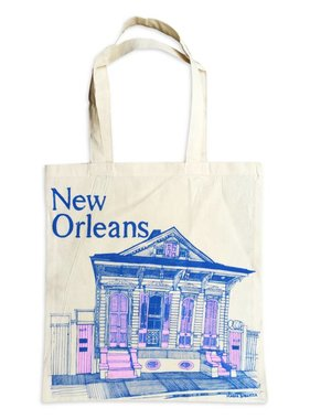 New Orleans Shotgun House Tote, Blue & Pink