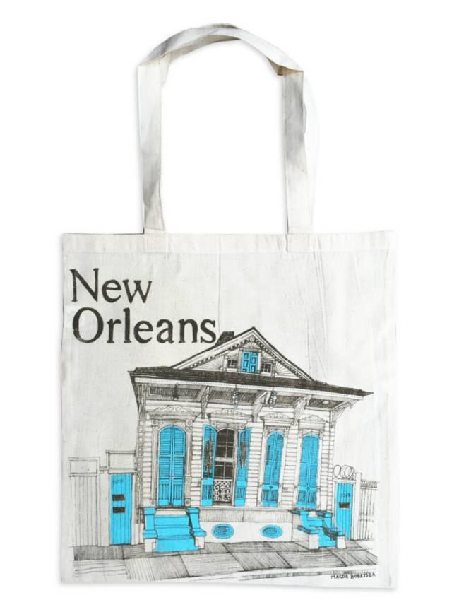 New Orleans Shotgun House Tote, Aqua