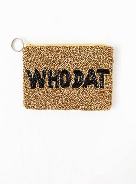 Who Dat Beaded Pouch, Gold