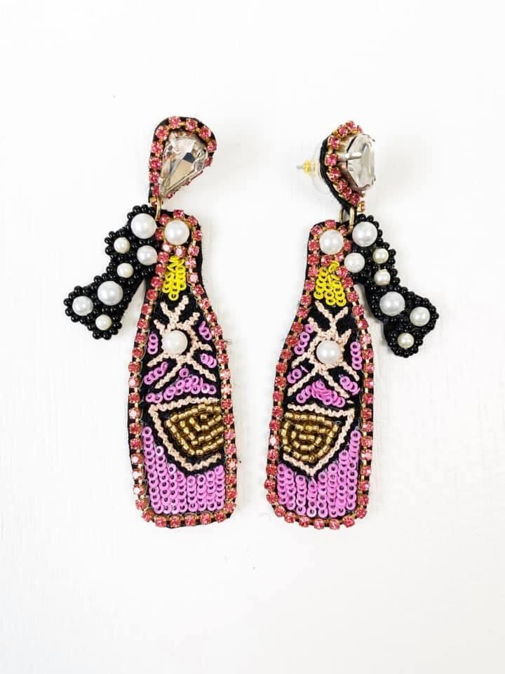 Rosè Bottle Bling Earrings