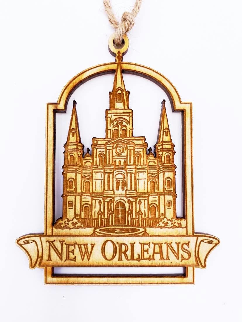 St. Louis Cathedral Wood Burned Ornament