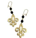 Open Fleur de Lis Earrings, Black and Gold