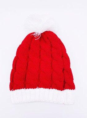 Red Knit Beanie w/Pom