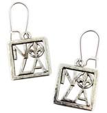 Square NOLA Fleur de Lis Earrings, Silver