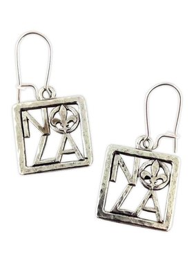 Square NOLA Fleur de Lis Earrings, Silver