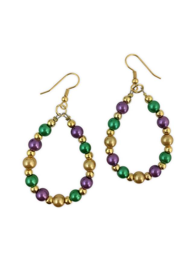 Mardi Gras Pearl Teardrop Earrings