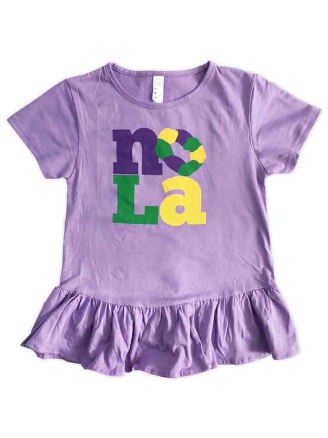 Kids NOLA King Cake Ruffle Dress