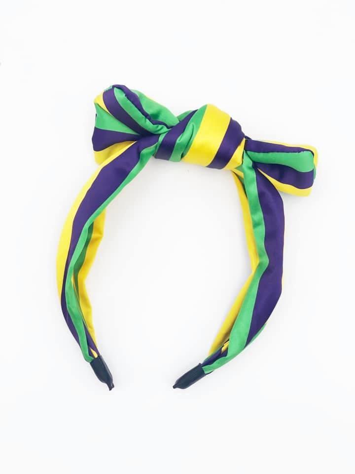 Mardi Gras Striped Headband with Bow