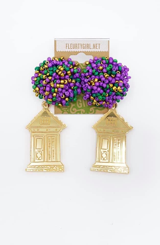 Gold Shotgun House Earrings