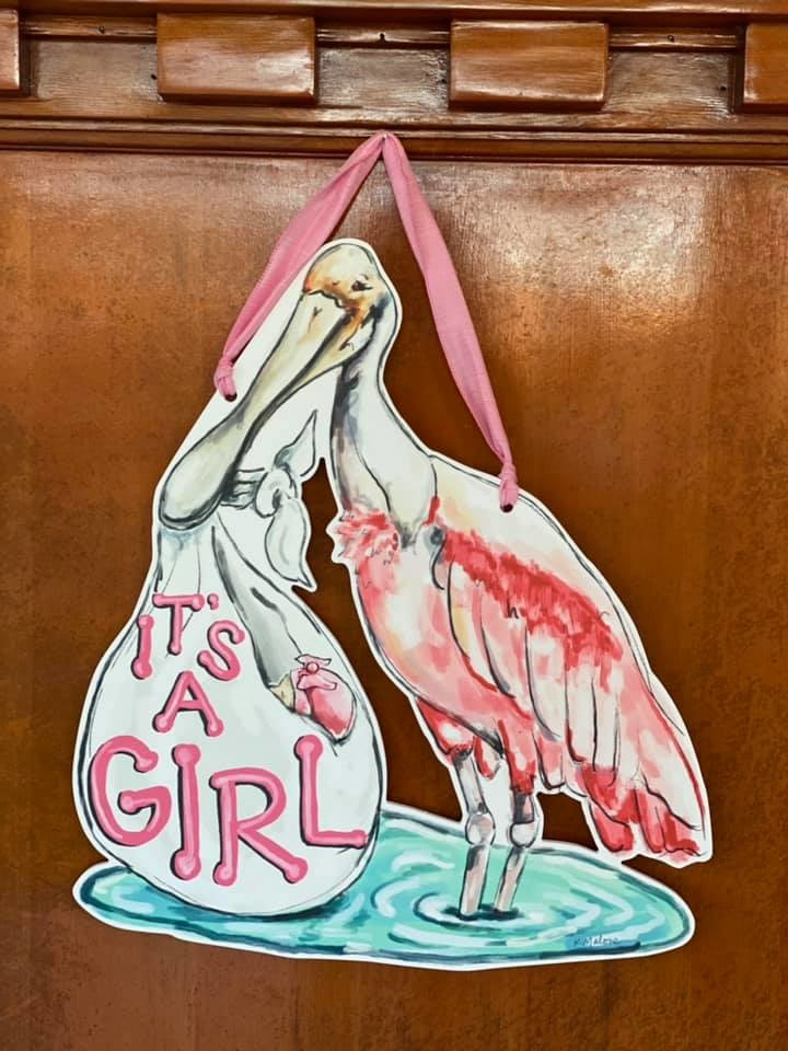 It's  Girl Spoonbill Door Hanger