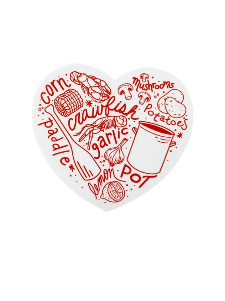 Crawfish Boil Heart Sticker
