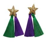 Mardi Gras Stars Double Tassel Earrings