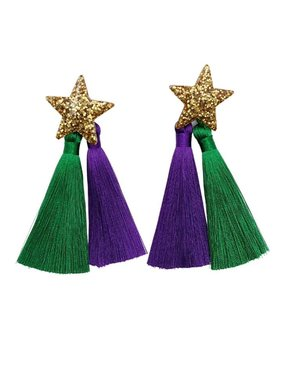 Mardi Gras Stars Double Tassel Earrings