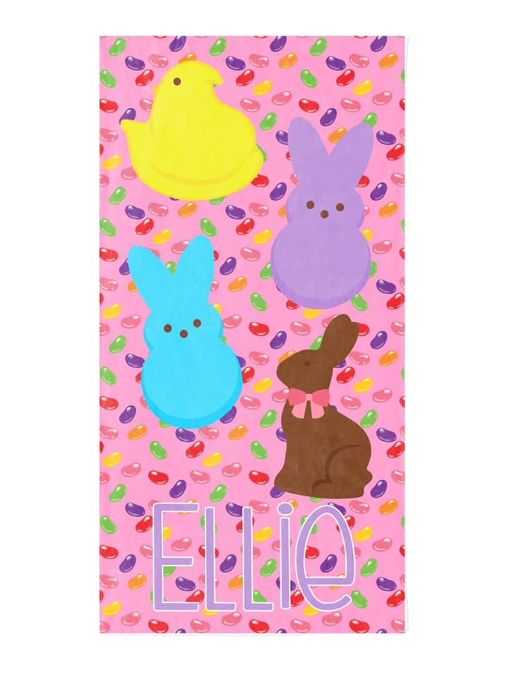 Custom Easter Candy Beach Towel, Pink