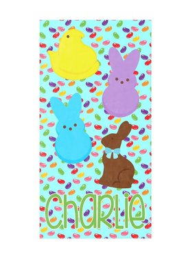 Custom Easter Candy Beach Towel, Blue