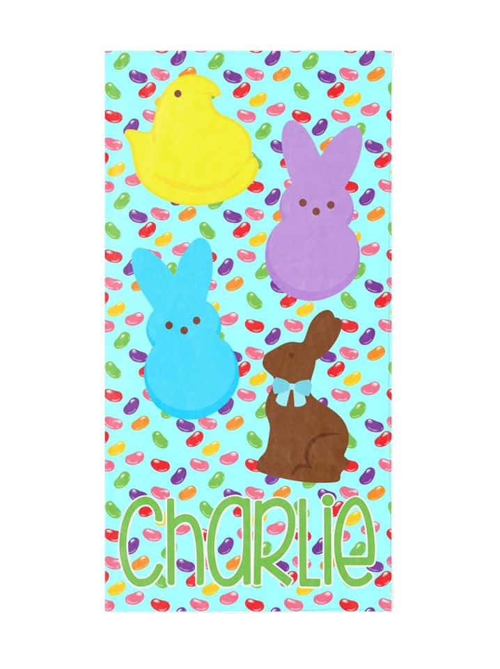 Custom Easter Candy Beach Towel, Blue