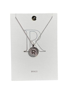 Stamped Initial Necklace, Silver