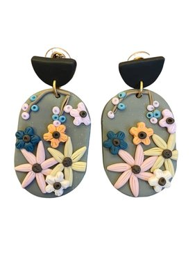 Oval Clay Earrings