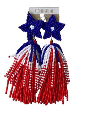 Red, White, & Blue Beaded Earrings