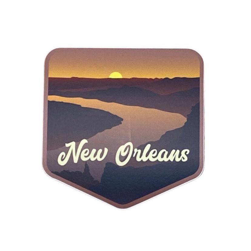 New Orleans River Sunset Sticker