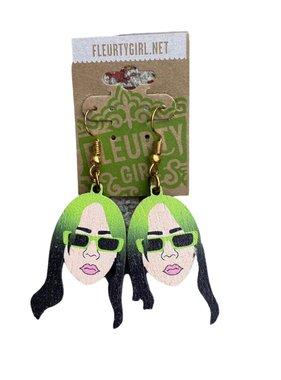 Celebrity Wood Earrings, Billie Eilish