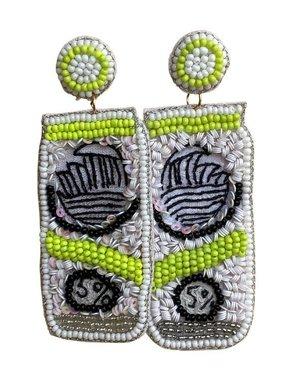 Hard Seltzer Beaded Earrings, Green