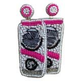 Hard Seltzer Beaded Earrings, Pink