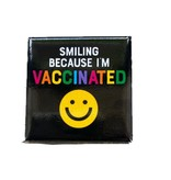 Smiling Because I'm Vaccinated Button