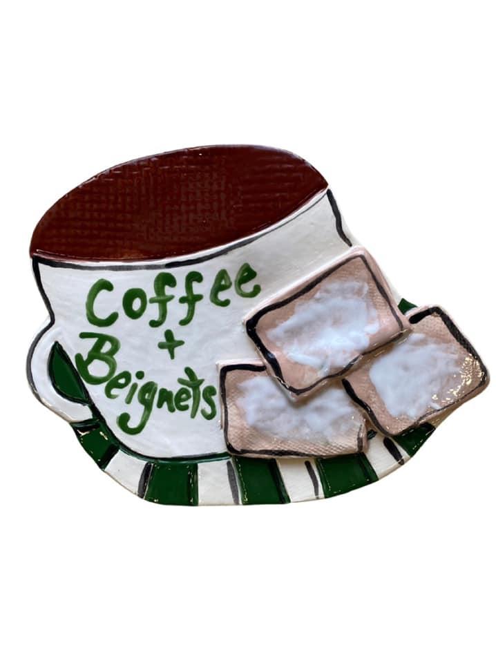 Coffee & Beignet Ceramic Plaque
