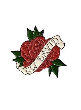 Ew David Glitter Rose Pin