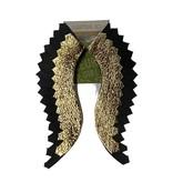 Black & Gold Glitter Wing Earrings