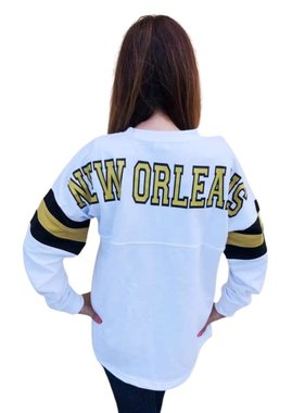 New Orleans Sweatshirt with Striped Sleeves